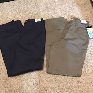 2 pair lee flat front career pants slacks